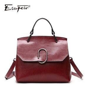 Image 1 - ESUFEIR Brand Genuine Leather Women Shoulder Bag Real Cow Leather Handbag Famous Design Crossbody Bag Casual Tote Top handle Bag
