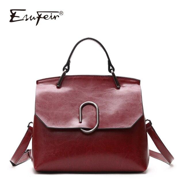ESUFEIR Brand Genuine Leather Women Shoulder Bag Real Cow Leather Handbag Famous Design Crossbody Bag Casual Tote Top handle Bag