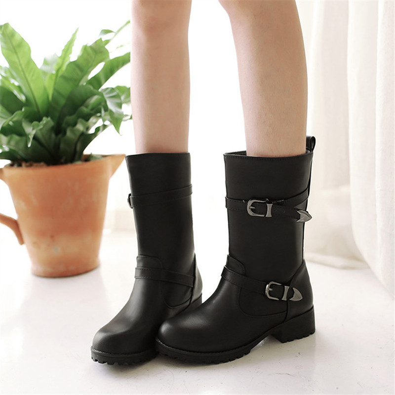 New Style Autumn Winter Women Boots Warm Leather Snow Boots Female Round Toe Mid Calf Fashion Flats Boots Shoes Plus Size 34 43 in Mid Calf Boots from Shoes