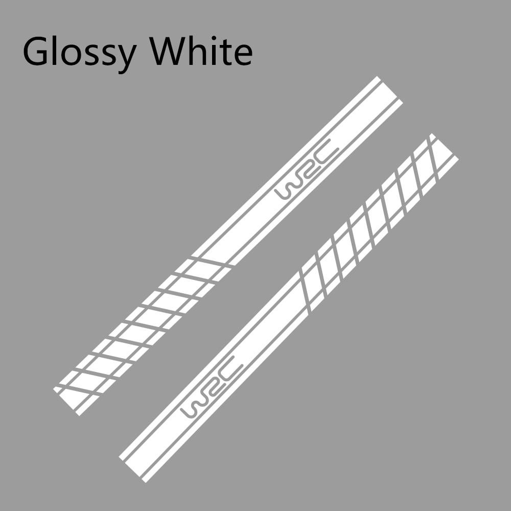 2 шт., 220 см x 16 см, длинные полосатые наклейки для автомобиля, автомобильные боковые юбки, наклейки для самостоятельного изготовления, наклейки для гоночных спортивных стикеров, аксессуары для тюнинга автомобиля - Название цвета: Glossy White