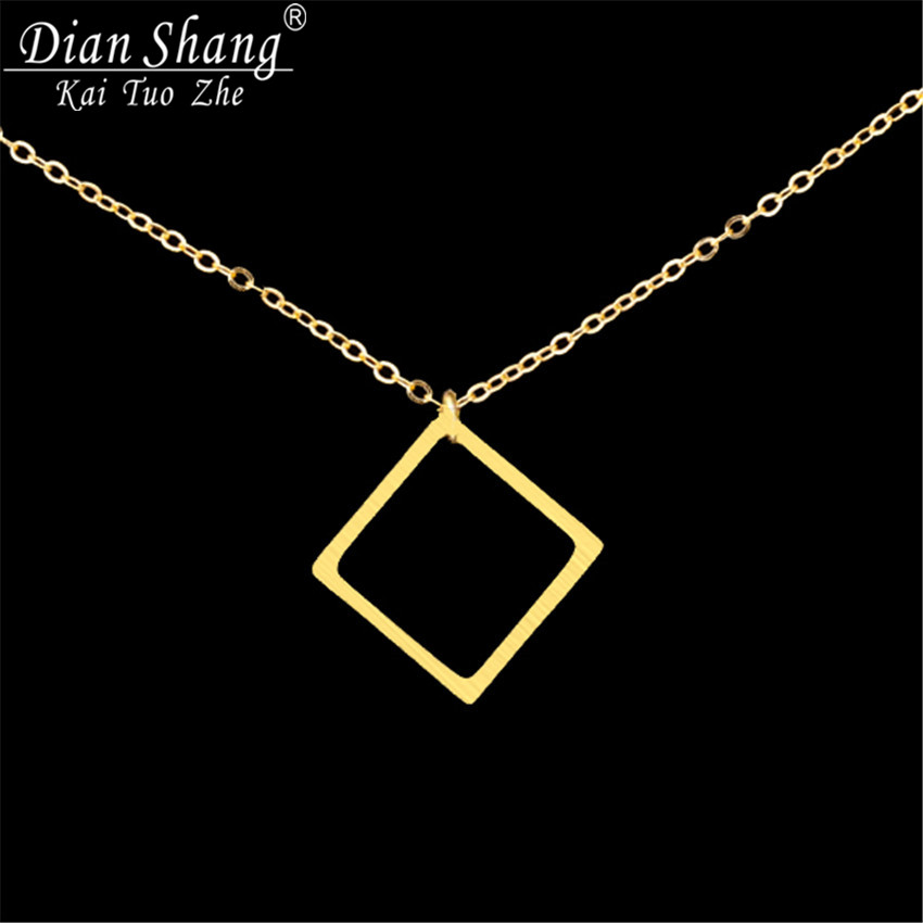 DIANSHANGKAITUOZHE 12017 Bijoux Femme Stainless Steel Dainty Simple Open Square Charm Pendant Necklace Women Men Jewelry - Show store