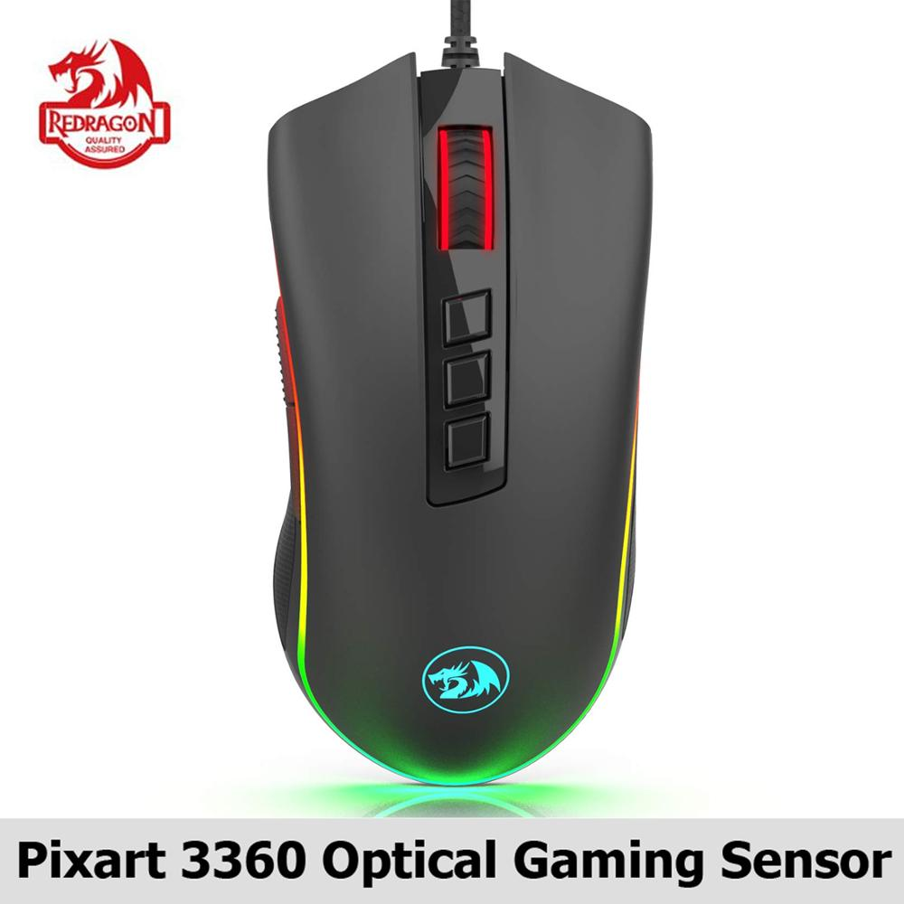 Redragon M711-FPS COBRA Gaming Mouse Pixart 3360 Optical Gaming Sensor 16.8 Million Chroma RGB Color Backlit Wired 24000 DPI FPS
