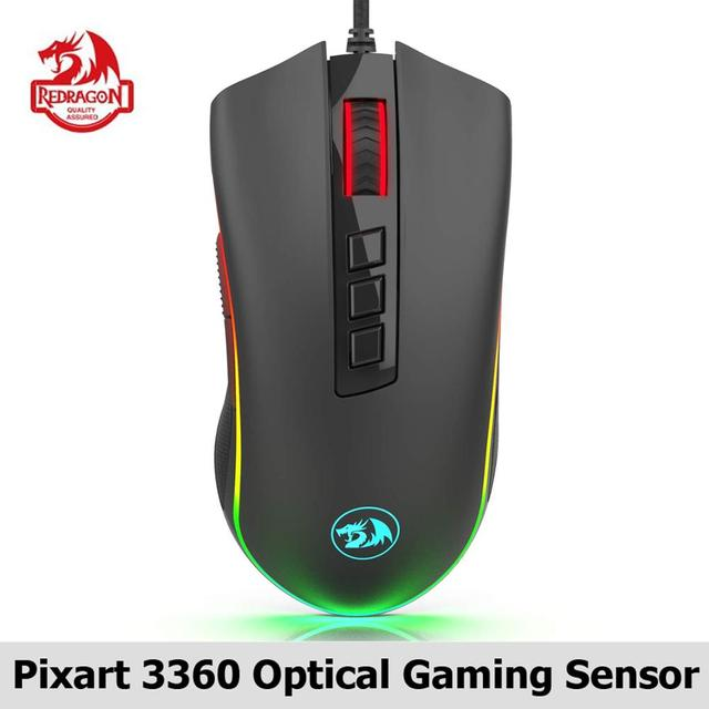 Redragon M711 FPS COBRA Gaming Mouse Pixart 3360 Optical Gaming Sensor 16.8 Million Chroma RGB Color Backlit Wired 24000 DPI FPS