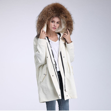 New Fur Coat Winter Jacket Women corduroy Large Raccoon Fur Collar Thick Parkas Natural Lamb Fur Lining Coat