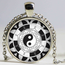 Mandala Yin Yang Necklace Mandala Pendant Jewelry Glass Dome Pendant Necklace HZ1