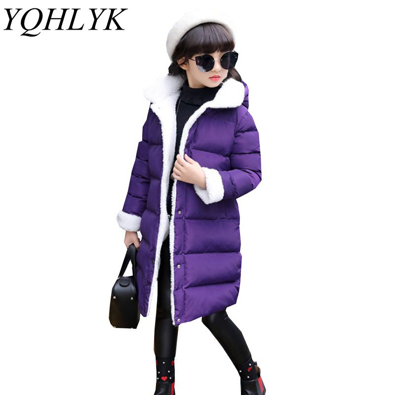 New Fashion Winter Cotton Girls Coat 2018 Children Single-Breasted Hooded Thick Warm Jacket Sweet Casual Kids Clothes 6-13Y W124 new winter girls boys hooded cotton jacket kids thick warm coat rex rabbit hair super large raccoon fur collar jacket 17n1120