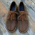 Café/Marrom Sapatos Baixos Sapatos de Couro Genuíno Mulher Mulheres Sapatos Oxford rendas Estilo Livre (986)