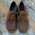 Coffee/Brown Flat Shoes Genuine Leather Shoes Woman Oxford lace Women Shoes Free Style (986)