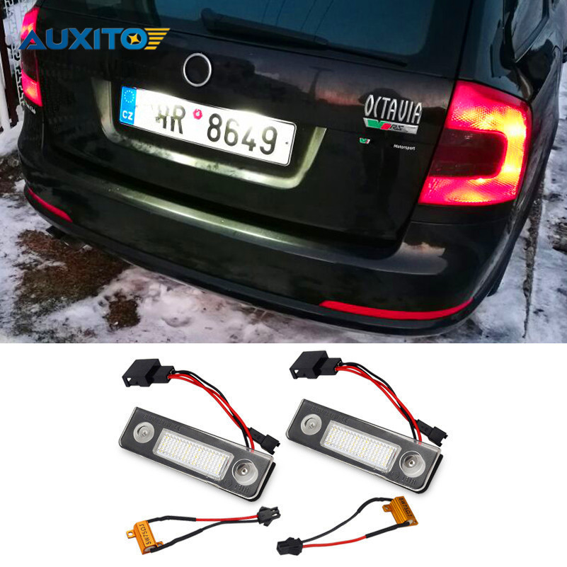 CANBUS License Plate Light 18LED Car LED Number Plate Lamp For Skoda Octavia 1Z Roomster 5J Octavia II Pre-facelift Facelifted canbus 18 led license plate light car number plate lamp for seat altea arosa ibiza 97 08 cordoba 93 08 leon 99 05 toledo iii