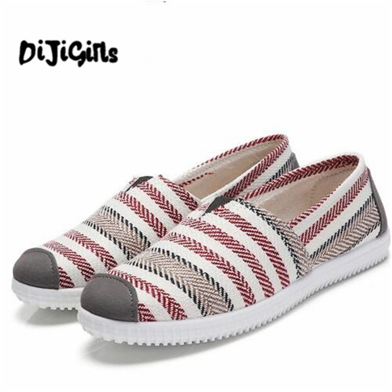 2018 Women Shoes Woman Flats Stripe Casual Sneakers Flat Shoes Slip On Espadrilles Canvas Shoes Women Sneakers Dropshipping vintage women flats chinese fashion beads embroidered casual canvas shoes slip on shoes for woman white shoes