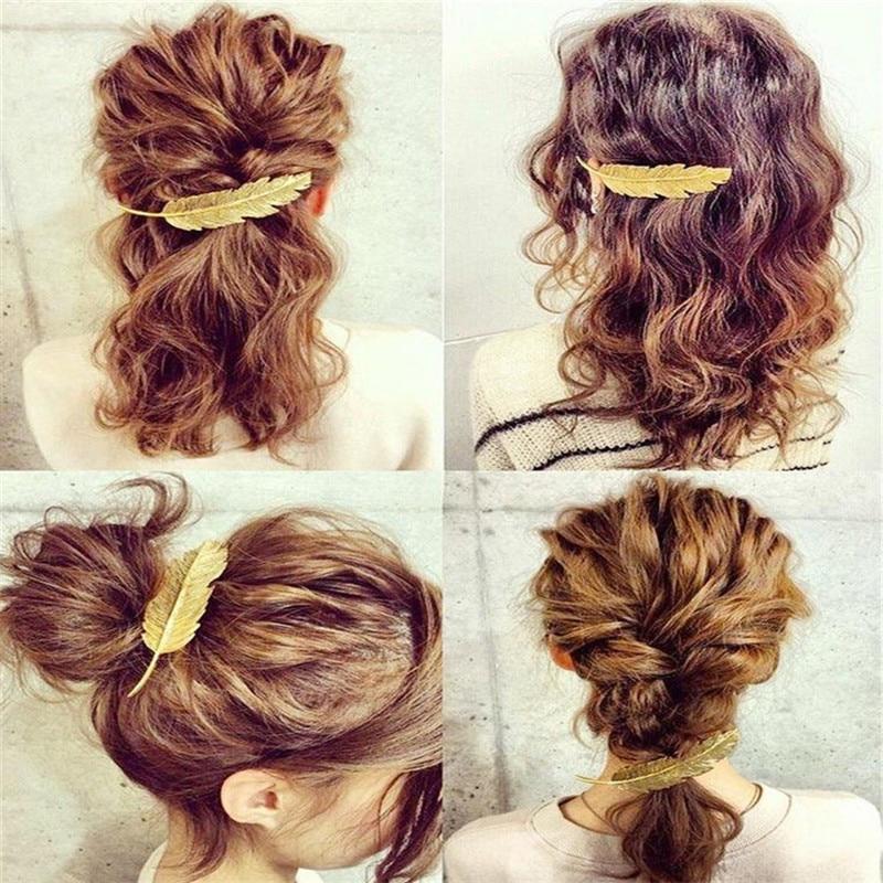 Korea armas kuld hõbe pronksiga kaetud lehed tüdrukud juuksed - Mood ehteid - Foto 2