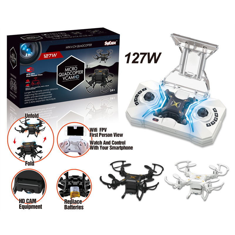 SBEGO 127W Mini Drone RC Drone with Camera 0.3MP FPV RC Quadcopter RC Helicopter 2.4GHz 4CH 6-Axis Gyro RTF Mini Pocket Toy