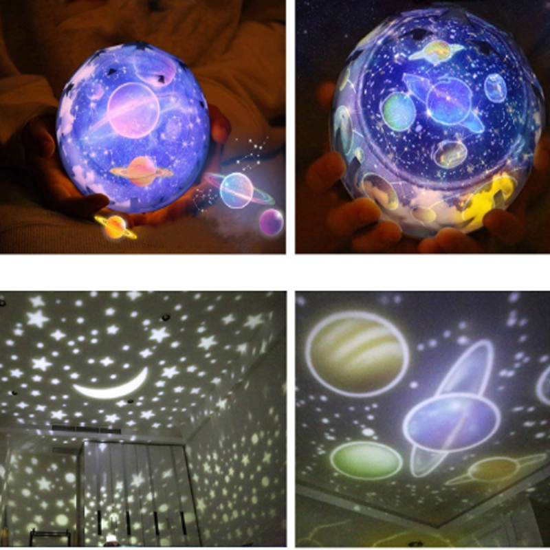 Led Night Light Lamp Child Battery Powered Starry Sky Magic Star Moon Planet Projector Lamp Usb Lamp Nursery Light Bedside Lamp