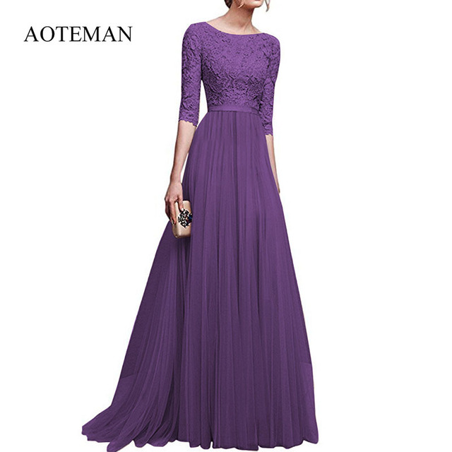 AOTEMAN Autumn Winter Christmas Dress Women Lace Chiffon White Long Dresses Elegant Vintage Party Women Dress Vestidos Plus Size