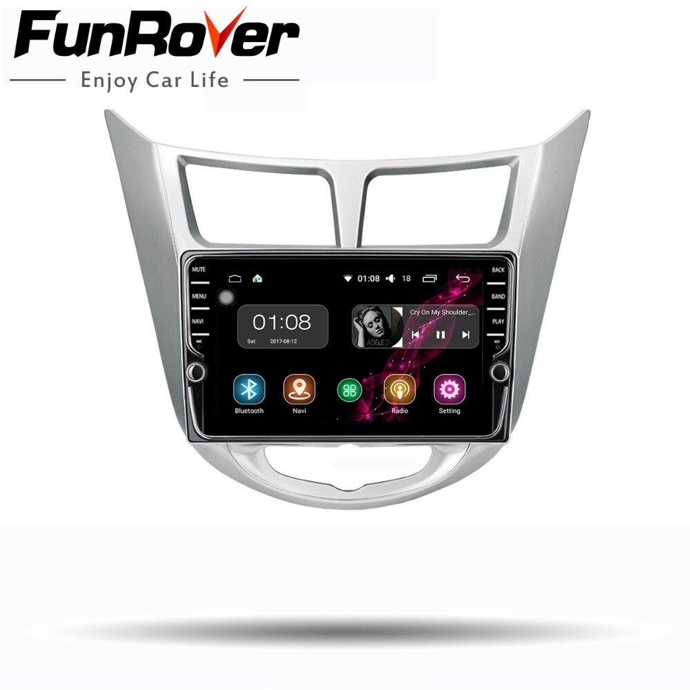 Funrover 2 din Android 8.0 Car dvd player multimediale per Hyundai Solaris accent Verna i25 2011-2016 radio GPS di navigazione stereo