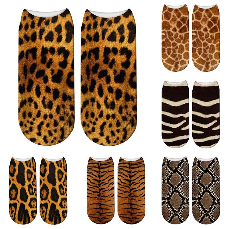 New 3D Printed Animal Fur Socks Women Cute Funny Tiger Skin Short Socks Casual Animal Zebra Leopard Snake Kawaii Cotton Socks