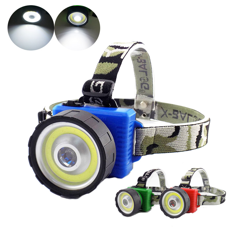 Dual COB LED Headlamp Camping Hiking Flashlight Work Light Fishing Headlight Head Lights Torch AA Battery Lamp Lanterna Frontale