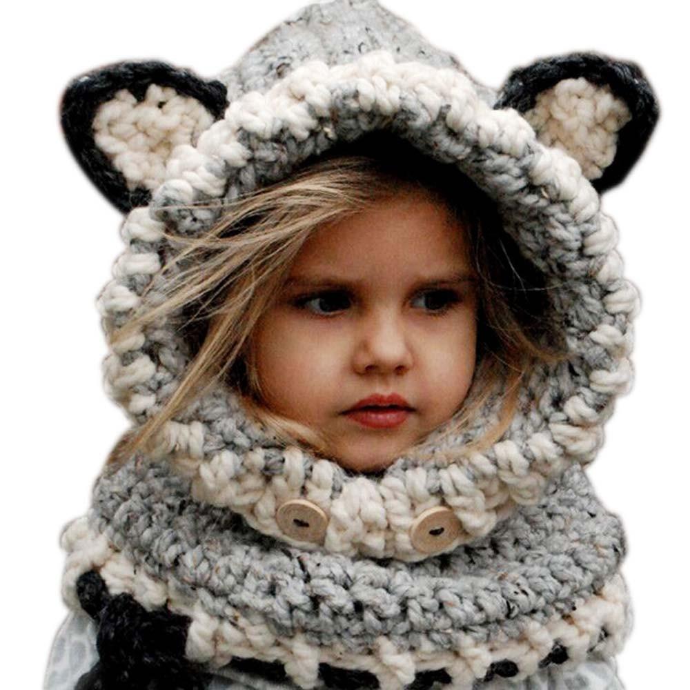1-7 Years Baby Girls Hats Handmade Kids Winter Hats Wrap Fox Scarf Caps Cute  Autumn Children Wool Knitted Hats Zl373 c86088680d59