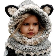 1-7 Years Baby Girls Hats Handmade Kids Winter Hats Wrap Fox Scarf Caps Cute Autumn Children Wool Knitted Hats zl373