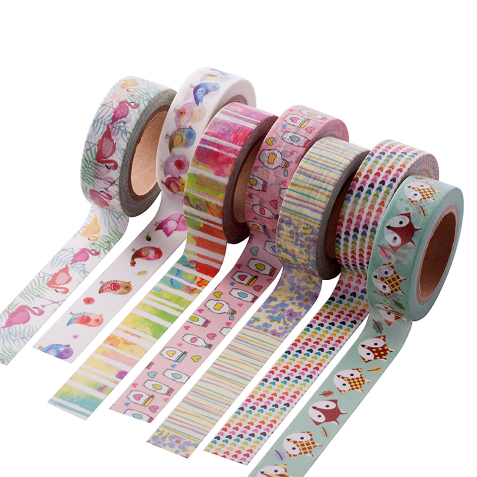 1X Cute Kawaii Plants Flowers Japanese Masking Washi Tape Decorative Adhesive Tape Decora Diy Scrapbooking Sticker Label Station 15mm 7m cute kawaii flowers cartoon masking washi tape decorative adhesive tape decor decora diy scrapbooking sticker label
