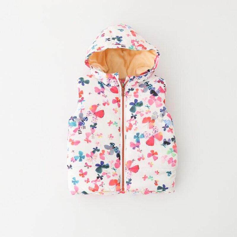Baby Winter Weste 2018 Mode Kinder Warme Hoodies Jacke Für Junge Mädchen Kinder Pelz Weste Voller Druck Katze Blumen Weste 6 T Kleidung