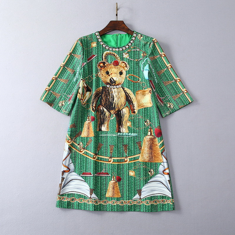 European and American women's fashion 2019 spring new style Five minutes sleeve heavy industry nail bead Bear printing dress - 4
