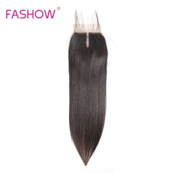 Fashow Hair Indian Lace Closure 4x4 Swiss With Baby Pre Plucked Natural Line Human Remy - discount item  19% OFF Human Hair (For Black)
