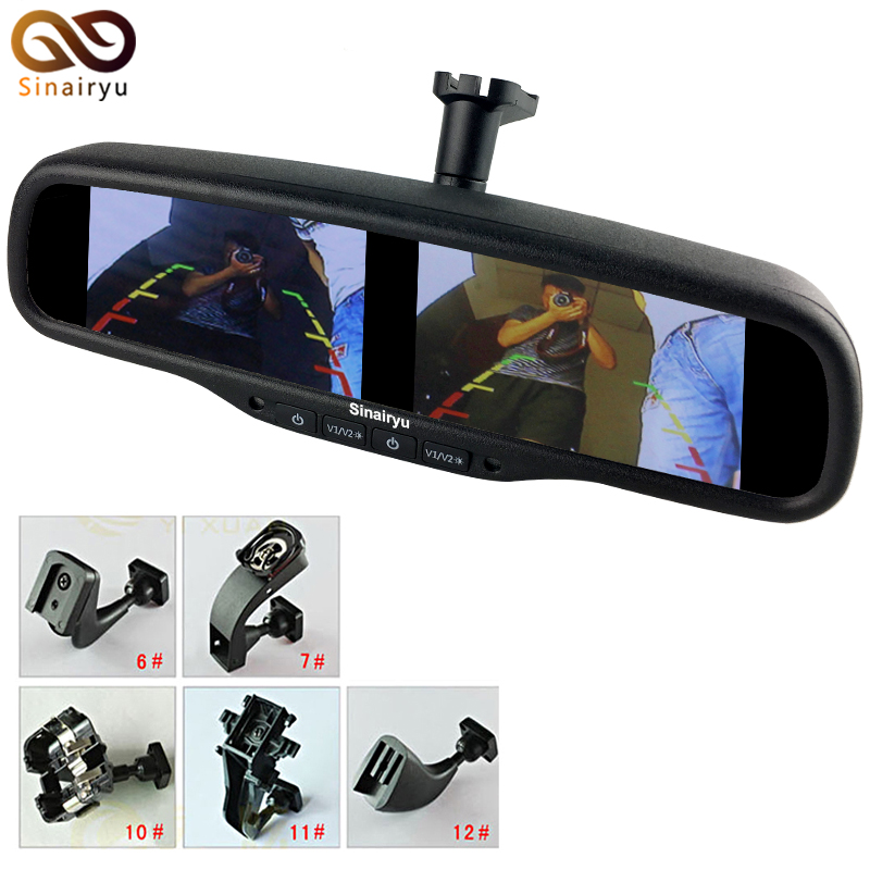 HD 800*480 Dual Screen Car Monitor OEM Mirror Monitor 4.3Inch Brightness Adjustment 4AV With Special Bracket For Hyundai Kia VW 8 4 8 inch industrial control lcd monitor vga dvi interface metal shell open frame non touch screen 800 600 4 3