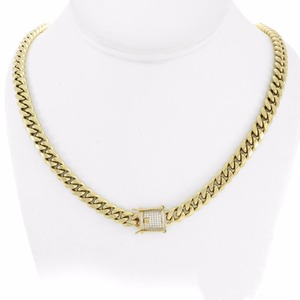 Image 4 - UWIN 10mm Men Cuban Miami Link Necklace Stainless steel Rhinestone Clasp Iced Out Gold silver color Hip hop Chain Necklace 76cm