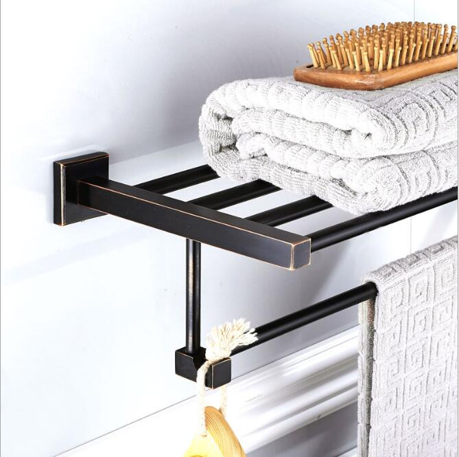 Antique Fixed Bath Towel Holder Wall Mounted Towel Rack 60 cm Square Towel Shelf Bathroom Accessories Luxury Brass Towel Rail bathroom thickened antique bath towel frame wall hanging rack full copper bathroom accessories set fixed towel rack