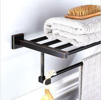 Antique Fixed Bath Towel Holder Wall Mounted Towel Rack 60 cm Square Towel Shelf Bathroom Accessories Luxury Brass Towel Rail