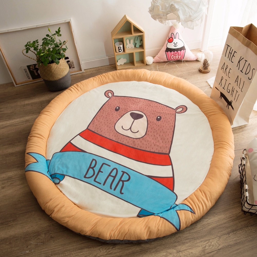 Thick Newborn Baby Padded Play Mat Soft Cotton Crawling Mat Girls Boys Game Rugs Round Floor Carpet For Kids Interior Room Decor цены