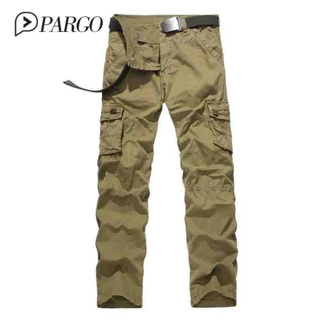 Ropa hombre pant joggers pantalones militares de camuflaje pantalones de carga multi-bolsillo 100% algodón pantalón verde del ejército (sin la correa 3121)