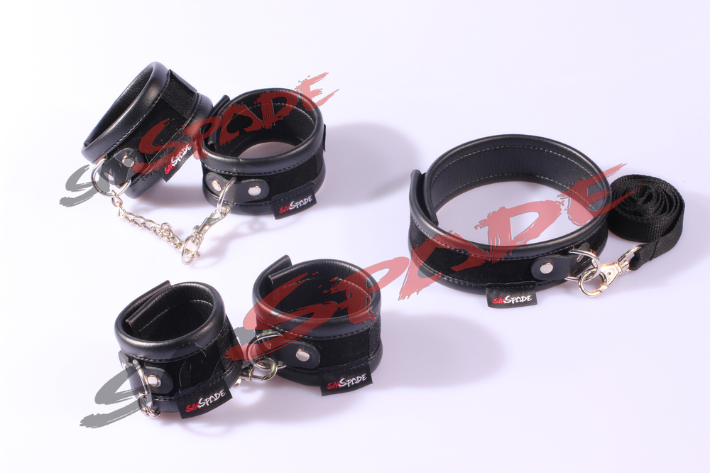 ФОТО Free Shipping Best Selling Hot Sale Adult Sex Products Double Pu Leather Sex Set 3pcs/set: hand cuffs ,ankle cuffs,collar