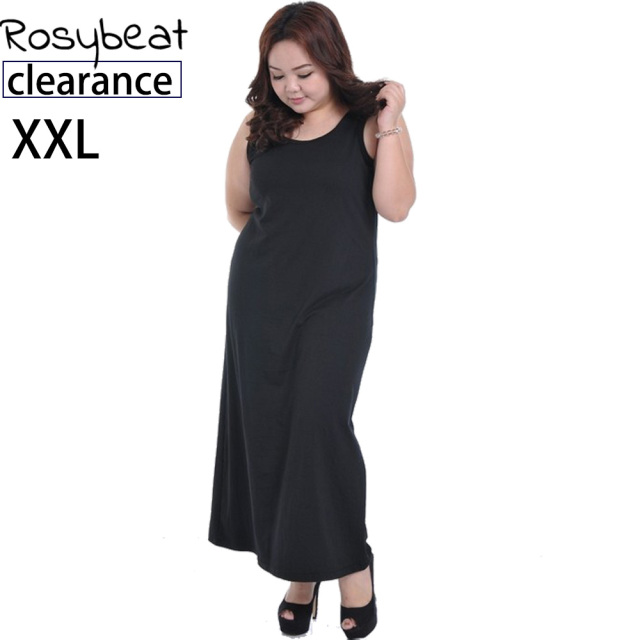 XXL Plus Size Dress Women Vestidos Sleeveless Summer Long Maxi Dresses  Large Big Size Lady Clothing Casual 2XL Black Tank Dress 095368e9aea3
