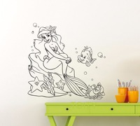 Ariel Mermaid Wall Decal Princess Flounder Sebastian Cartoons Vinyl Sticker Home Kids Girl Boy Nursery Bathroom