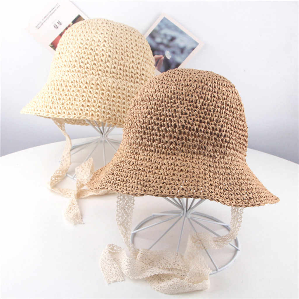 d2ac5e10d95 Summer Infant Girls Children Ribbons Breathable Hats Straw Hats Kids Bucket  Mut Cap baby beanie baby