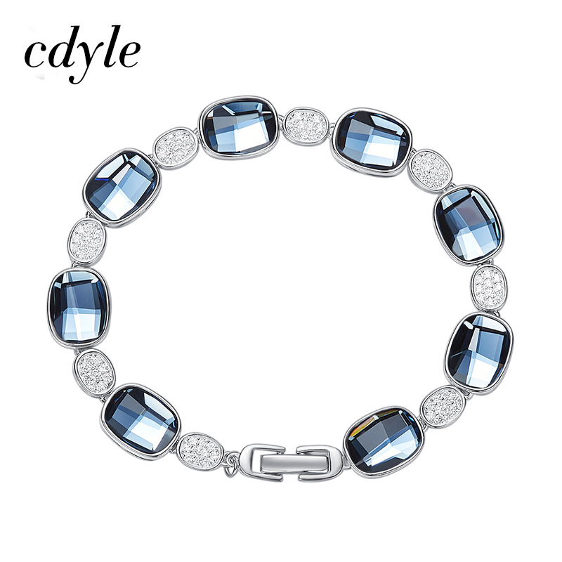 Cdyle Crystals from Swarovski Bracelets Women Bracelet For Women Bangle Austrian Rhinestone Fashion Jewelry Original Design trendy letter heart round rhinestone bracelet for women