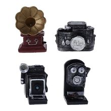 Baby Photography Props Retro Vintage Decoration Mini Small Simulation Phonograph Telephone Camera Photo Shot Newborn Memorial