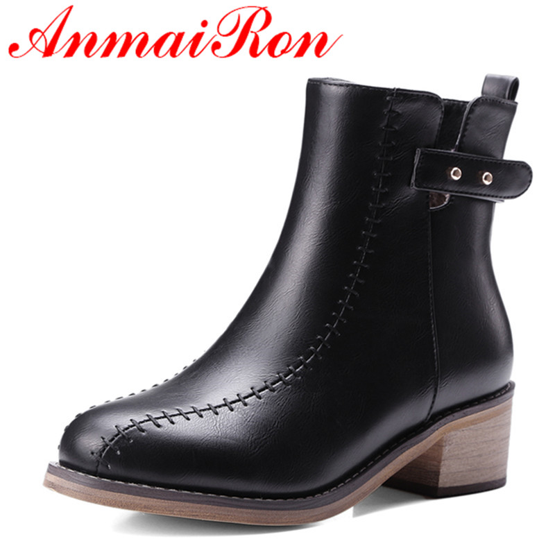ANMAIRON High Heels Rivets Charms Shoes Woman Ankle Boots for Women Winter Motorcycle Boots Large Size 34-48 Zippers Round Toe enmayla ankle boots for women low heels autumn and winter boots shoes woman large size 34 43 round toe motorcycle boots
