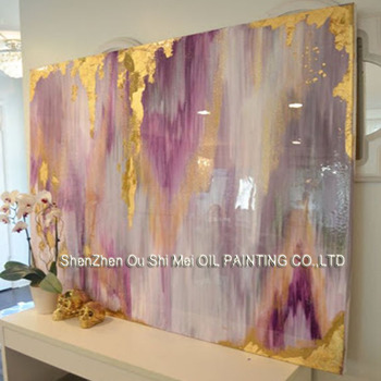 Professional Artist Handmade Colorful Purple Abstract Oil Painting on Canvas Beautiful Rich Color Oil Painting for Room Decor