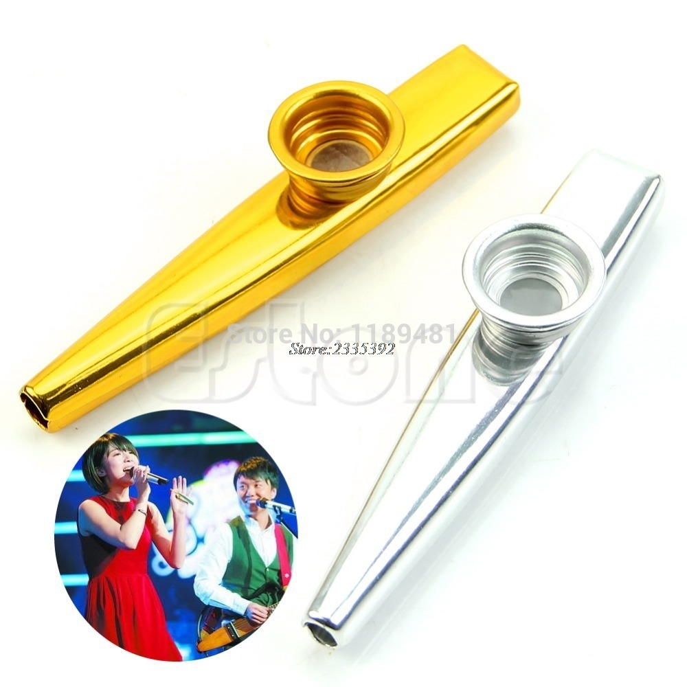 Free Shipping Metal Golden Kazoo Mouth Harmonica Flute Kids Party Gift Kid Musical Instrument ...