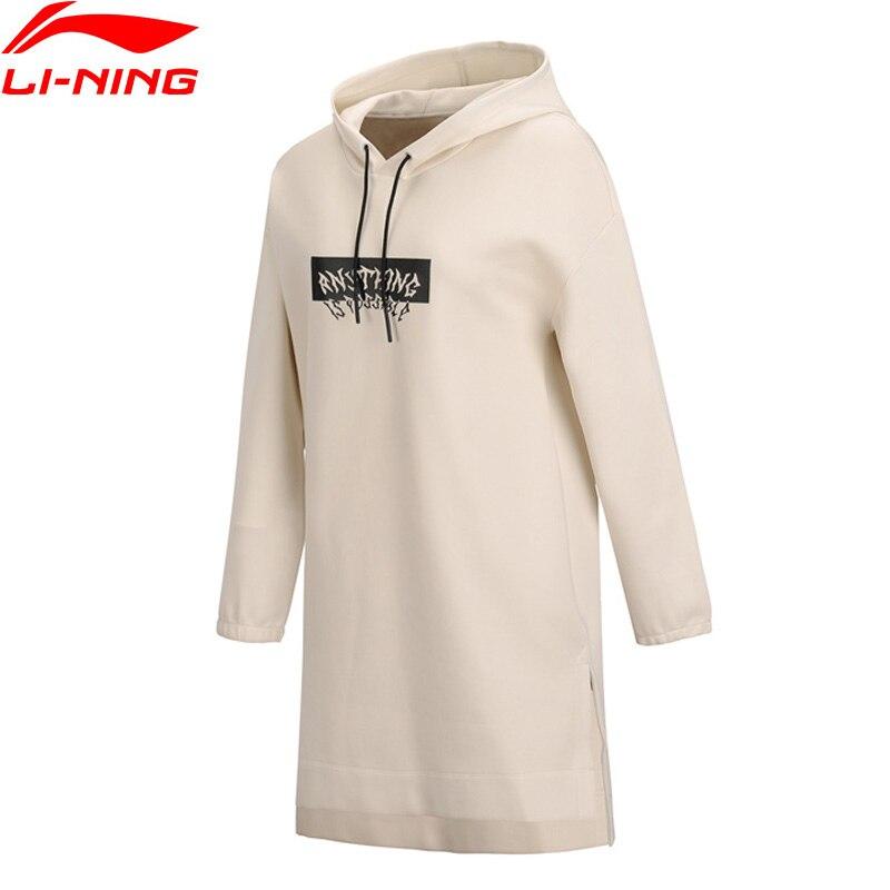 Li-ning femmes la tendance capuche sport coupe ample 63% coton 37% Polyester doublure sport à capuche Long T-Shirt ASKN068 WQL5725
