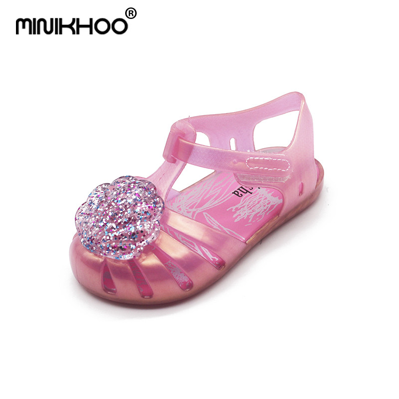 Mini Melissa Flash Shell Cute Girls Jelly Sandals 2018 New Melissa Children Shoes Baby Sandals Breathable Melissa Princess Shoes