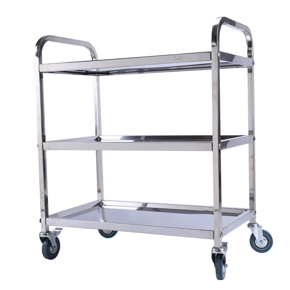 Stainless Steel Large 3 Tier Catering Hotel Restaurant Trolley Cart Serving Clearing with Brake Hand Tools