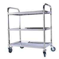 Stainless Steel Large 3 Tier Catering Hotel Restaurant Trolley Cart Serving Clearing with Brake Hand Tools Bearing 100kg
