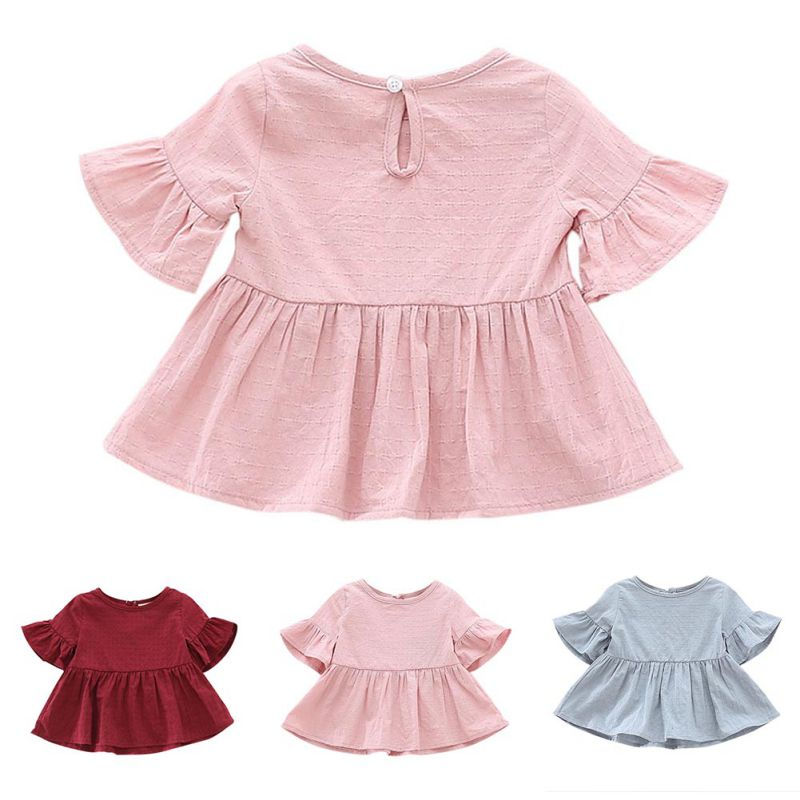 2018 Fashion Shirt for Girls Summer Autumn Lovely Solid Color Shirt - Ubrania dziecięce - Zdjęcie 5