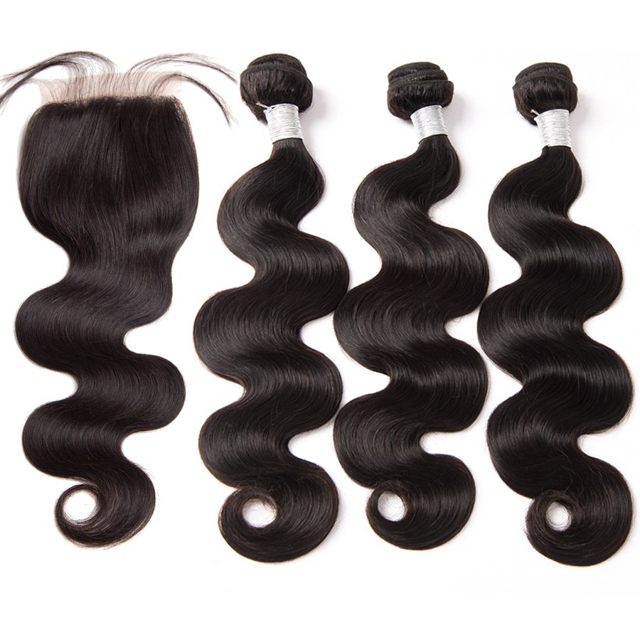 Human Hair Bundles With Closure 3 Bundles Body Wave With Closure Brazilian Hair Weave Bundles ALIPOP 4x4 Top Lace Closure Remy