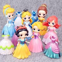 12pcs/Lot Snow White Cinderella Alice Magic Clip Dress PVC Action Figures Rapunzel Dolls Belle Anime Figurines Kids