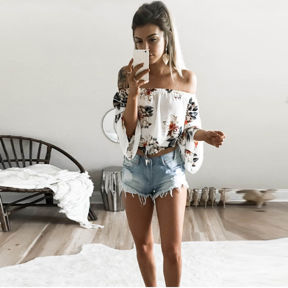 <font><b>Fashion</b></font> Woman <font><b>Sexy</b></font> Print Summer Chiffon Blouse <font><b>Women</b></font> Shirt 2018 Blusa Feminina White <font><b>Off</b></font> <font><b>Shoulder</b></font> <font><b>Womens</b></font> Tops and Blouses image